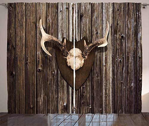 (Ambesonne Antler Decor Curtains, Rustic Home Cottage Cabin Wall with Antlers Hunting Lodge Country House Trophy, Living Room Bedroom Window Drapes 2 Panel Set, 108 W X 108 L Inches, Brown)