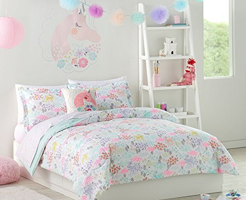 Pastel Unicorns & Flowers Girls Full Comforter Set (7 Piece Bed In A Bag) + HOMEMADE WAX MELT by Enchanted Bedding