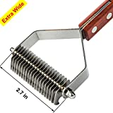 MEETWIN Undercoat Grooming Rake, Dematting Stripper, Tool, Combs with 20-Blades, for Medium to Large Dogs, Cats, Stainless Steel Combines with Solid Wooden Handle