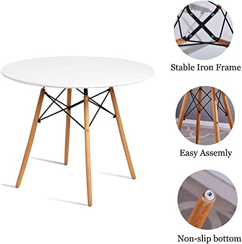 Chosimo Dining Table Round Coffee Table Modern Tea Kitchen Wooden Table Table Bar Table MDF Top with Natural Beech Wood Legs