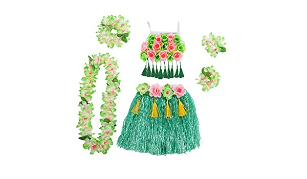 Amosfun Disfraz Hawaiana niña Falda Hula Diadema de Flores Pulsera ...