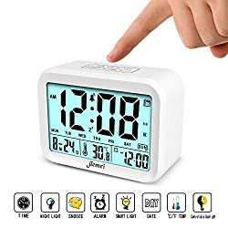 Digital Alarm Clock, Jiemei Talking Alarm Clocks for Kids and Adults, Battery Operated, 4.5'' Display, Smart Backlight, 3 Alarms, 7 Rings, Good Gift Choice (White)