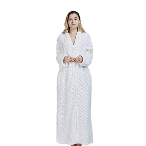 Pijamas Vestido, Albornoz de Lujo de Talla Grande de Franela, Bata de casa,