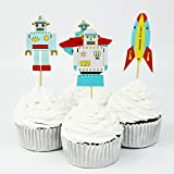 Winrase® Pack of 24 Cute Air Robot Kids Party Decoration Paper Cupcake Toppers (Air Robot)