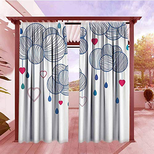 (Simple Curtain Modern Fluffy Sketchy Hand Drawn Clouds with Hanging Hearts Work of Art Hang with Rod Pocket/Clips W84x96L Violet Blue Magenta White)