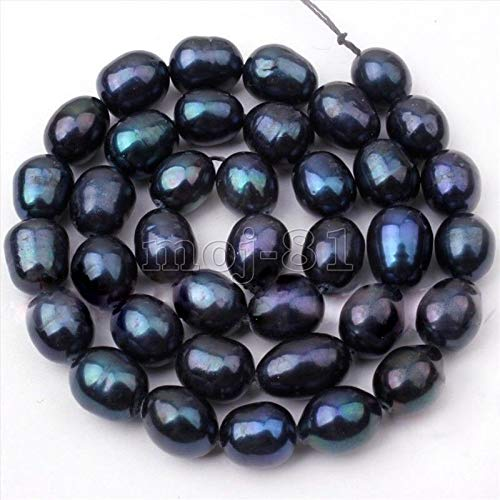 Fricgore, Handmade Jewelry, 8-9mm Rice Freshwater Pearl Loose Beads 15'' AAA - (Color: Black)