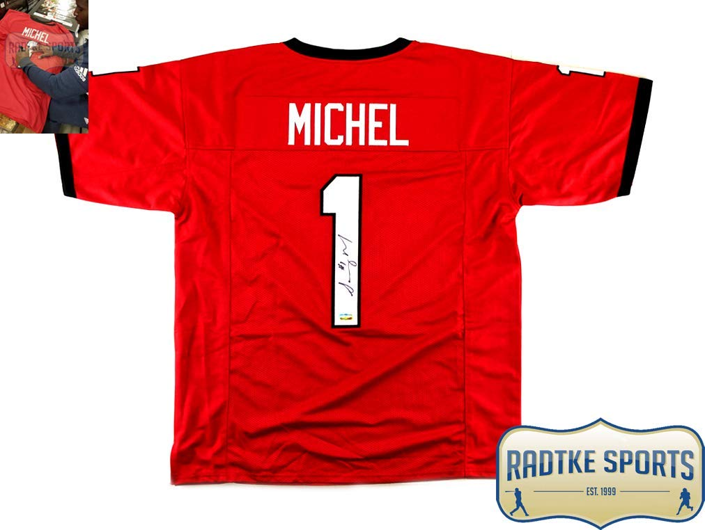 Sony Michel Autographed/Signed Georgia Red Custom Football Jersey Radtke Sports
