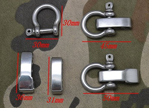 5 Pack /Lot Adjustable Bow Shackles Stainless Steel for Paracord Survival Bracelets (S502A)