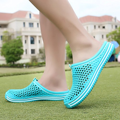 Slip Shoes slippers indoor Clog Shoes OUYAJI Womens Breathable Walking shoes Mesh Summer shoes Sky bash Beach Footwear Blue2 Sandals Water Anti Garden vHwgaqx