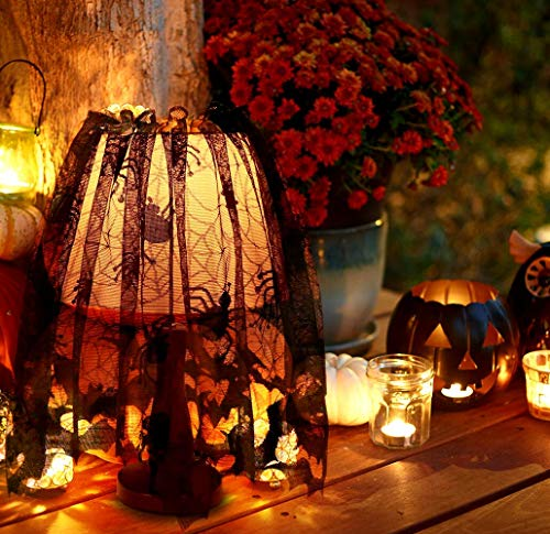 "Halloween Spider Bat Web Decoration Lace Lampshade Topper Fireplace Mantle Scarf Window Curtain Ribbon Halloween Parties, Décor & Spooky Meals, Black 60""x 18"" ()"