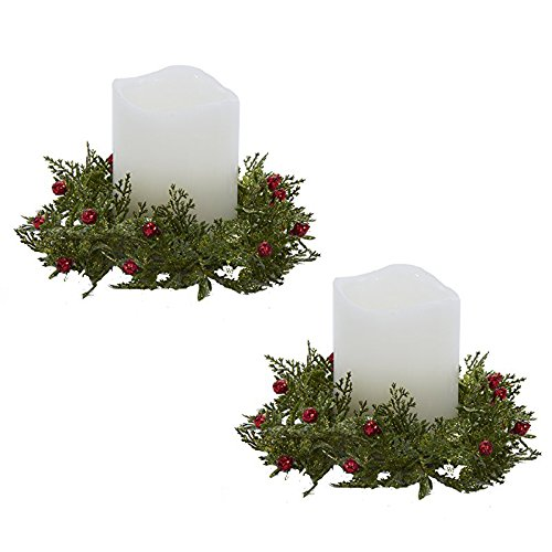Berry Pillar Candle Ring - Kurt Adler Christmas Candle Ring Glittered Holly With Red Berry Set of 2