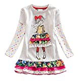 VIKITA 2018 Toddler Girls Dresses Long Sleeve Girl Dress for Kids 3-8 Years Gray LH3660, 8T