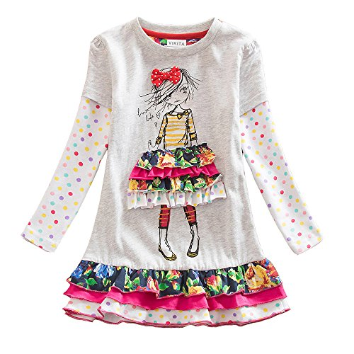 VIKITA 2017 NEW Kids Girls Cotton Flower Dress Long Sleeve Gray LH3660 7-8 (Dresses For Girls Size 7 8)