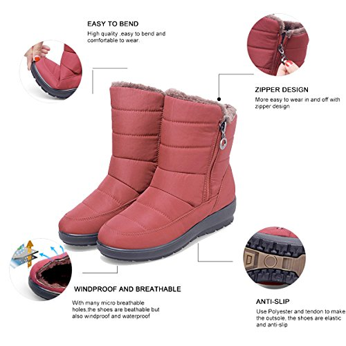 Waterproof Winter Red Boots Warm Cashmere Wedge Boots Slduv7 Calf Plus Lining Women Fur Mid Snow x5XAwqW06