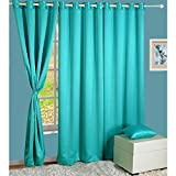 HOMEC Elegant Blackout Multi Eyelet Door Curtain Set Of 2 -48 X 84 Inch In Teal For Sale