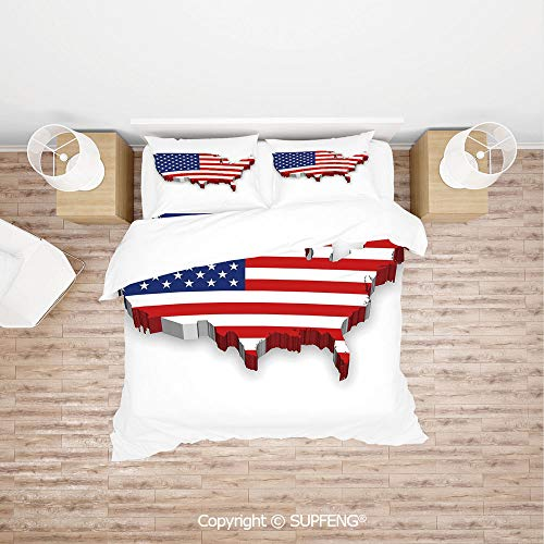 SCOXIXI 3D Duvet Cover Bedding Sets America Continent Figure with National Flag Symbol Glory Country Design Decorative (Comforter Not Included) Soft, Breathable, Hypoallergenic, Fade Resistant