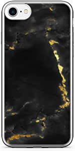 iPhone 8 Transparent Edge Phone case Gold Marble Phone Case Dark Phone Case Black Gold iPhone 8 Cover with Transparent Bumper