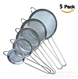 5 Pack Stainless Steel Oil Skimmer Spoon,5 different diameters(2.8 Inches&3.2 Inches&4 Inch&4.7 Inches &5.5 Inches) Fine Mesh Strainer for Food Kitchen Cooking Fat Oil Filter Skimming Grease and Foam