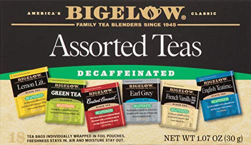 Bigelow Decaffeinated Assorted Teas 18-Count Boxes (Pack of 6) Decaffeinated Individual Green Tea and Black Tea Bags