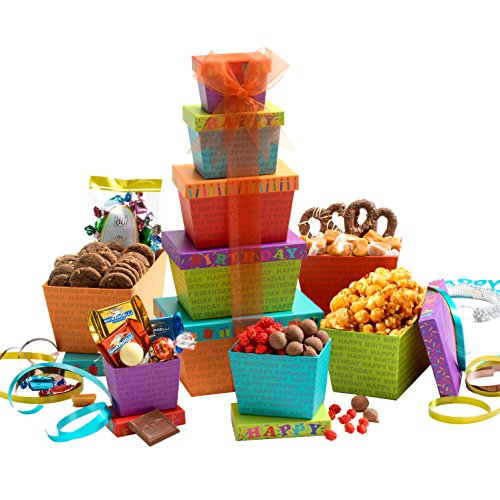 Broadway Basketeers Gift Tower, Happy Birthday Celebration (Chocolate Birthday Gifts)