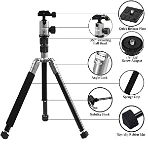 Selens Aluminum Alloy 62'' Lightweight Camera Tripod with 360 Degree Panorama Ball Head Quick Release Plate for DSLR Camera Canon Nikon Sony with Carry Bag, Gray