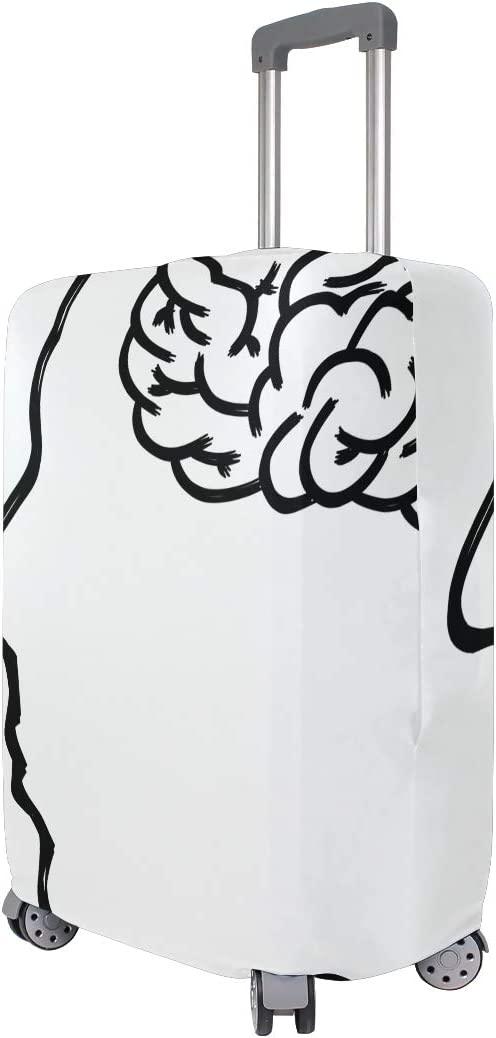 Accessories Black And White Line Human Body Font Face Drawing Elastic Travel Fits 26-28 Inch Luggage Cover Suitcase Protector