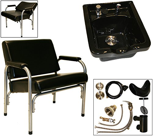 LCL Beauty Super Heavy Duty Shampoo Package: Autorecline Shampoo Chair and CERAMIC Shampoo Bowl
