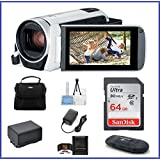 Canon VIXIA HF R800 Camcorder [White] Bundle; includes: 64GB SDXC Memory Card, Card Reader, Spare Battery and more...