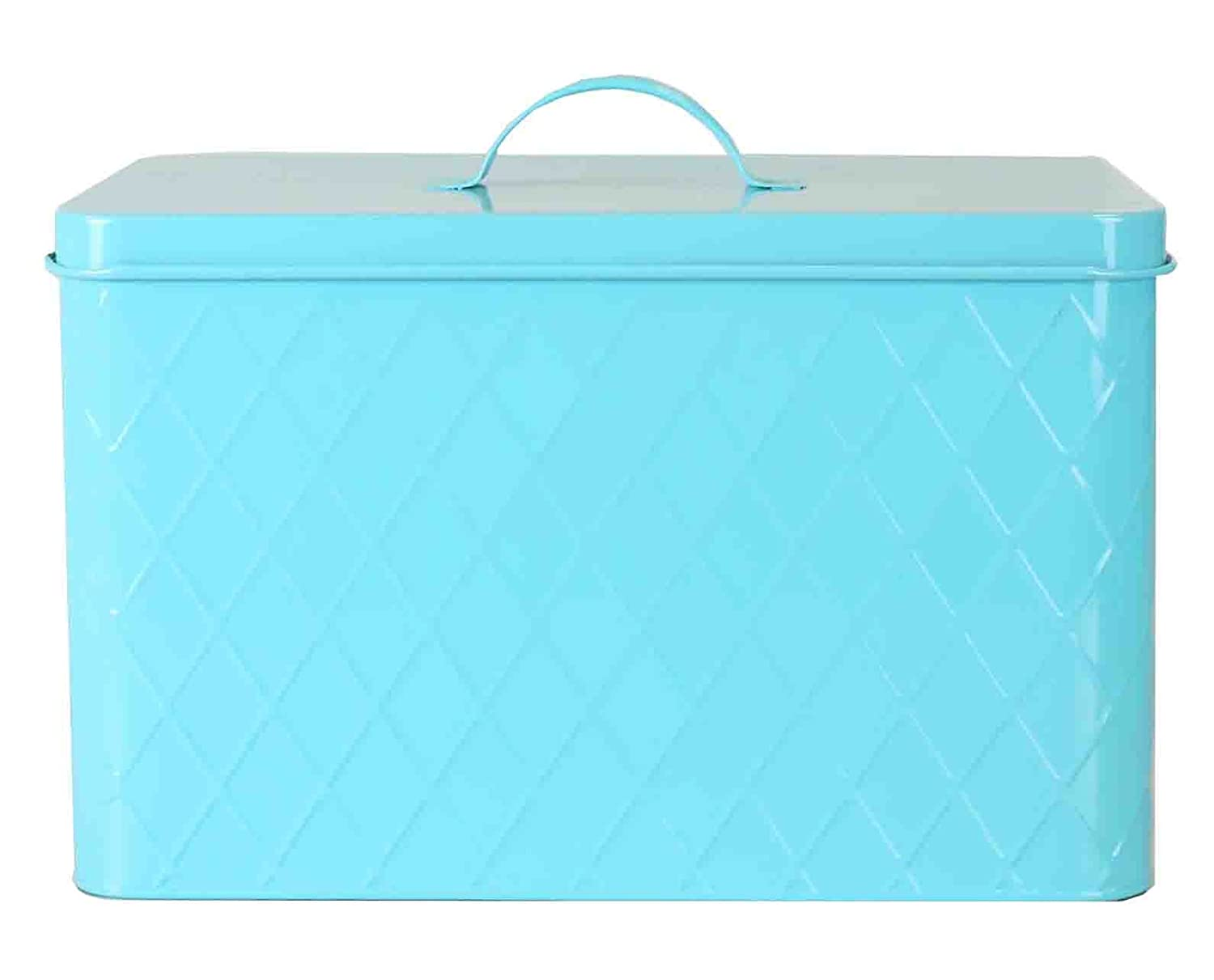 Home Basics Vintage Tin Bread Box, Argyle Pattern, Turquoise, 13.25x8.5x10 Inches HDS Trading Corp. CS47385