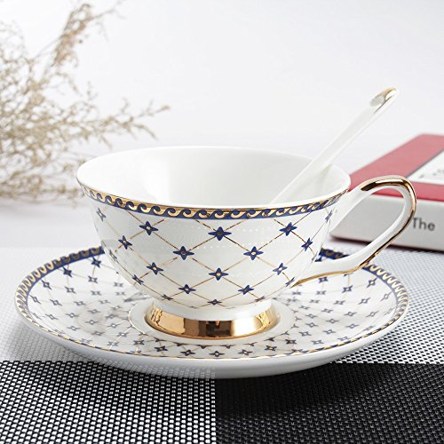 Porlien Exquisite Royal Blue 6.7-Ounce Tea Cups and Saucers Sets with Spoons, Gold Trimmed, Porcelain, Set of 6, Gift Box (Holiday Cup Saucer)