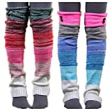 VIGVOG Women's Boho Knitted Warm Long Leg Warmers(Rainbow&Green)