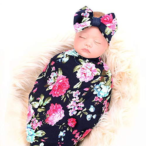 Baby Receiving Blanket,Newborn Swaddle Blankets Set, Girl Floral Headband (Navy Blue Rose, 0-3 Months) ()