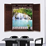 Pawaca Beautiful Outdoor Waterfall, High Mountain Stream, Thick Jungle Scenery From Inside a Window Creative Wall Sticker Art Bedroom for Living Room