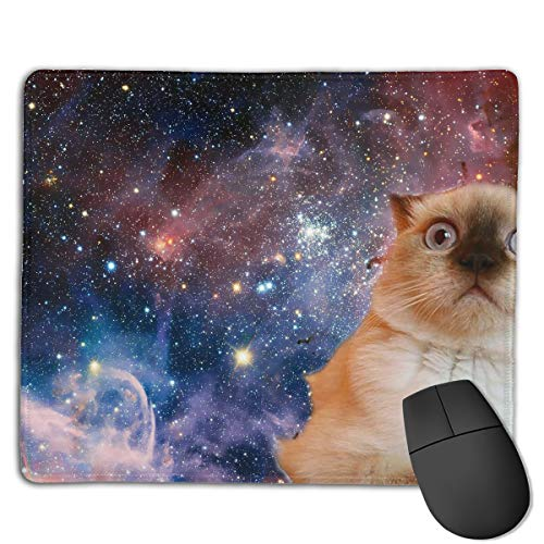 Teesofun Unique Mouse Pad Cute Space Cat Art Rectangle Rubber Mousepad 8.66 X 7.09 Inch Non-Slip Gaming Mouse Pad -