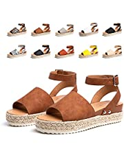 Sandales Compensees Femme Espadrille Femmes Ete Chaussures Plateforme à Bout Ouvert Confort Marron Taille 36