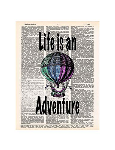 Hot Air Balloon, Life is an Adventure, Dictionary Page Art Print, 8x11 inches, Unframed