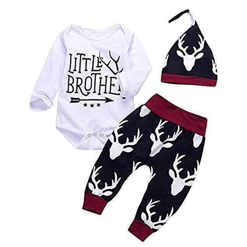 3PCs Baby Boys Little Brother Arrows Romper+Long Deer Pant+Hat Outfits Set (White, 0-6Months) ()