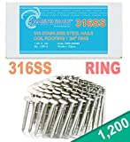 """1 3/4"""" Ring 316 Stainless Coil Roofing Nails 1.2M"""