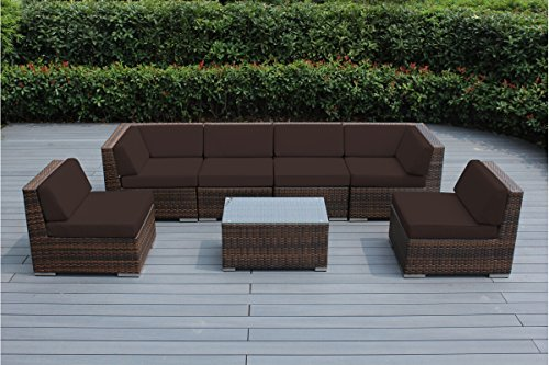 Ohana 7-Piece Outdoor Patio Furniture Sectional Conversation Set, Mixed Brown Wicker with Brown Cushions - No Assembly with Free Patio -