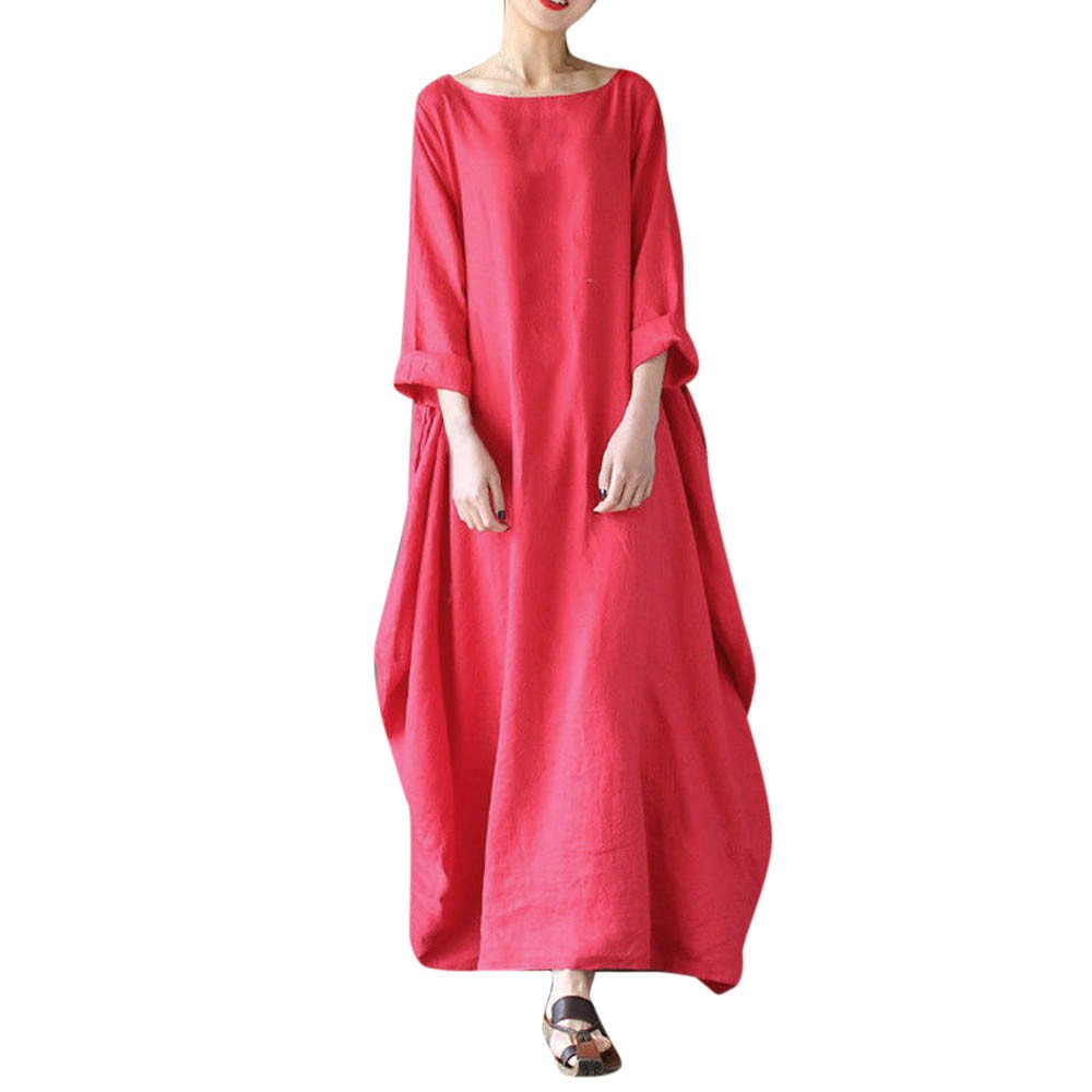 JESPER Women Crew Neck Loose Casual Solid Cotton Baggy Oversized Long Maxi Tunic Dress Red