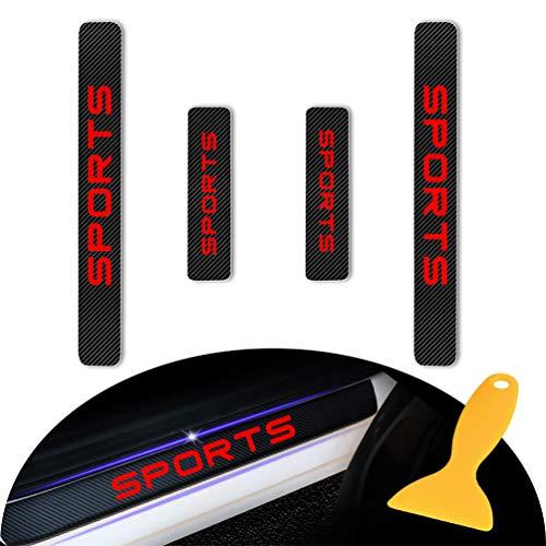 for KIA K2 K3 K4 K5 K7 Sportage Sportage-R VQ carens Sorento Cadenza Carbon Fiber Door Sill Protector Scratch Door Sill Guard 4D Welcome Pedals Guards Threshold Sticker Sticker Red 4Pcs