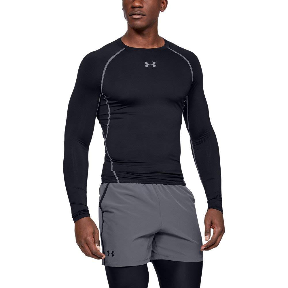 Under Armour Men's HeatGear Long Sleeve Compression Shirt, Black (001)/Steel, Small