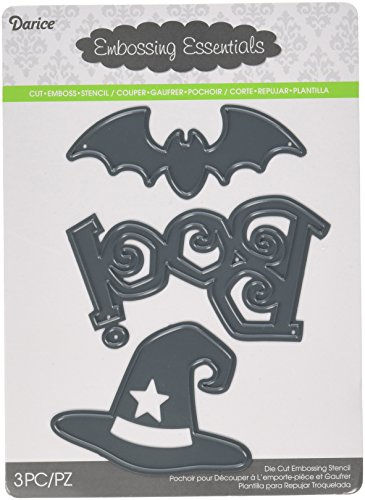 Darice Craft Die Cut, Halloween Shapes, Boo, Bat and Witch -
