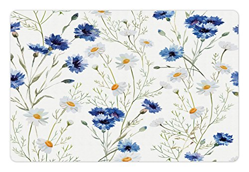 Lunarable Pet Mat for Food and Water, Rectangle Non-Slip Rubber Mat for Dogs and Cats, Wildflowers and Cornflowers Daisies Blooms Flower Buds, Green Marigold