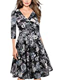 oxiuly Women's Vintage V-Neck 3/4 Sleeve Floral Casual Cocktail Party Swing Dress OX233 (XL, Black Long)