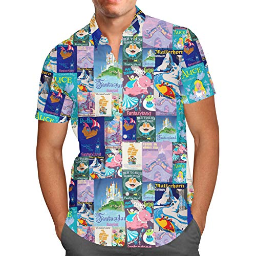 Mickey Mouse Hawaiian Shirt - Fantasyland Disney Inspired Mens Button Down Short Sleeve Shirt - XL