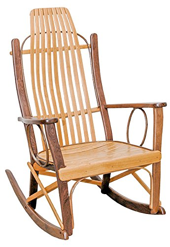 Rustic Flat Arm Rocker - Cherry and Walnut with Clear Lacquer Finish Amish Cherry Arm Chair