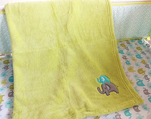 NAUGHTYBOSS Unisex Baby Bedding Set Cotton 3D Embroidery Elephant Bird Quilt Bumper Mattress Cover Blanket 8 Pieces Green by NAUGHTYBOSS (Image #7)