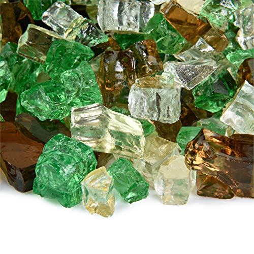 Prairie Gold - Fire Glass Blend for Indoor and Outdoor Fire Pits or Fireplaces | 10 Pounds | 1/2 -