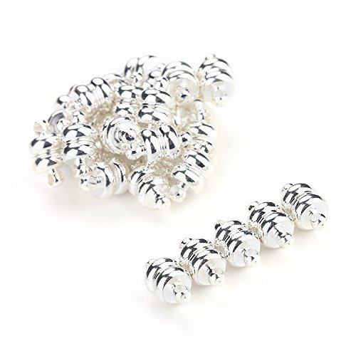 Navifoce Daisy Color Tone 20pcs Magic Magnetic Clever Clasps Connector Findings for Jewelry Making Bracelet Necklace (#2 Silver-grey Calabash Magnetic clasp)